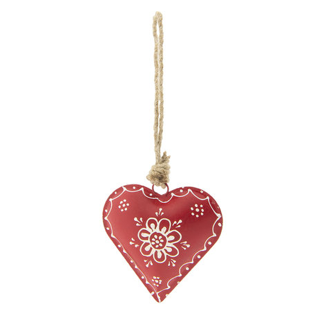 2 STUKS Decoratie hanger hart 10*1*10 cm Rood | 6Y2794 | Clayre & Eef