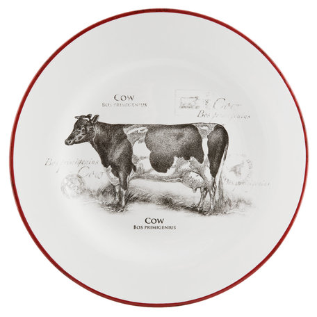 Bord koe ø 20*2 cm Rood   CSADPC   Clayre & Eef