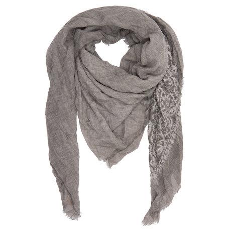 Sjaal 140*140 cm Grijs | JZSC0201G | Clayre & Eef