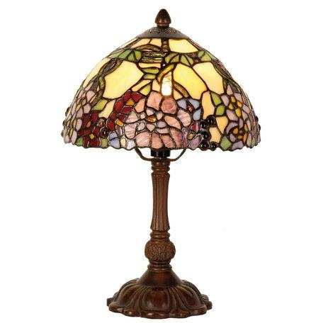 Tafellamp Tiffany ø 22*32 cm E14/max 1*40W Meerkleurig   5LL-1103   Clayre & Eef
