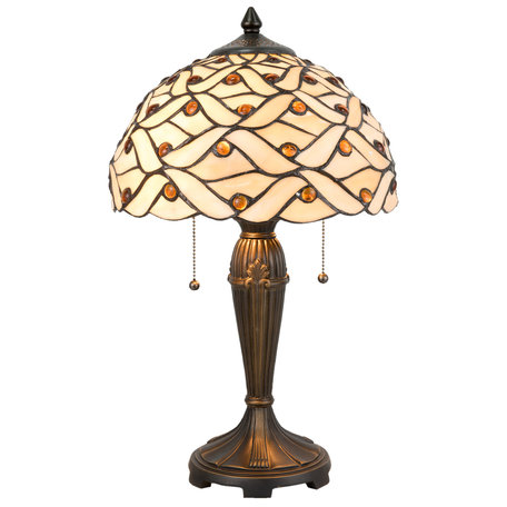 Tafellamp Tiffany ø 30*50 cm E27/max 2*40W Meerkleurig   5LL-5181   Clayre & Eef