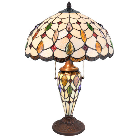 Tafellamp Tiffany ø 40*60 cm E27/max 2*60W / E14/max 1*15W Meerkleurig   5LL-5182   Clayre & Eef
