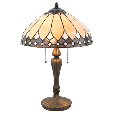 Tafellamp Tiffany ø 41*60 cm E27/max 2*60W Bruin   5LL-5184   Clayre & Eef
