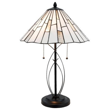 Tafellamp Tiffany ø 40*60 cm E27/max 2*60W Zwart | 5LL-5185 | Clayre & Eef