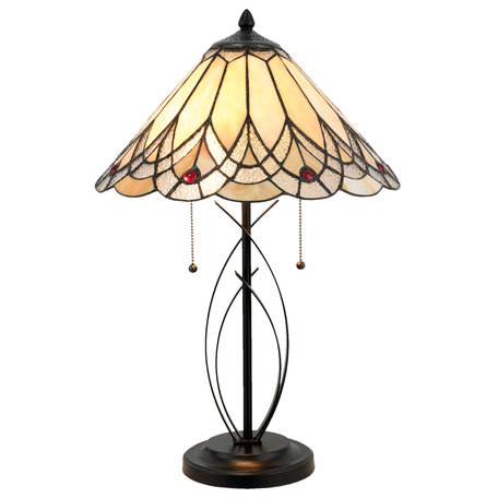 Tafellamp Tiffany ø 40*60 cm E27/max 2*60W Meerkleurig | 5LL-5186 | Clayre & Eef