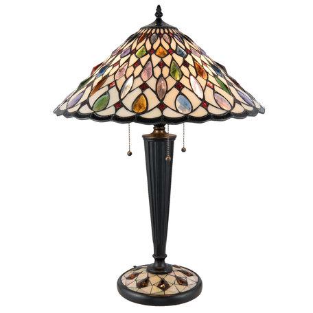Tafellamp Tiffany ø 46*62 cm E27/max 3*60W Meerkleurig | 5LL-5188 | Clayre & Eef