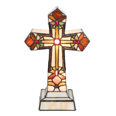 Tafellamp Tiffany 22*13*35 cm E14/max 2*7W Meerkleurig | 5LL-5189 | Clayre & Eef