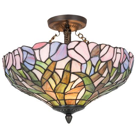 Plafondlamp Tiffany ø 41*31 cm E27/max 2*60W Meerkleurig | 5LL-5192 | Clayre & Eef