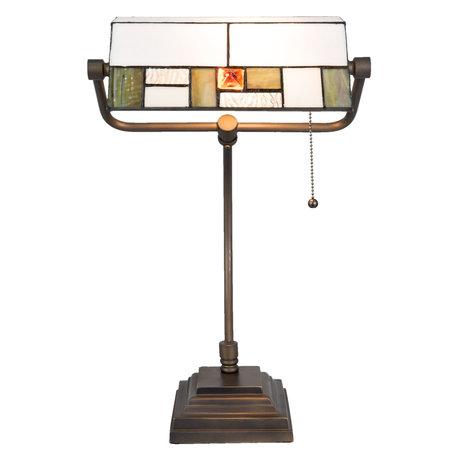Bureaulamp Tiffany 31*30*52 cm E27/max 1*60W Meerkleurig | 5LL-5194 | Clayre & Eef