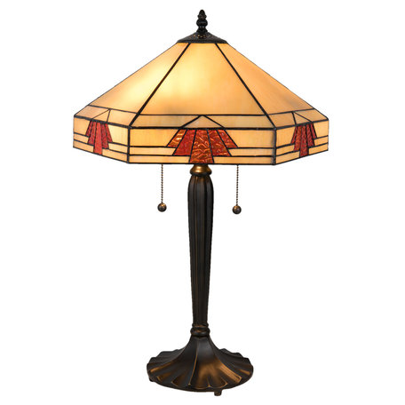 Tafellamp Tiffany 40*35*59 cm E27/max 2*60W Meerkleurig | 5LL-5201 | Clayre & Eef