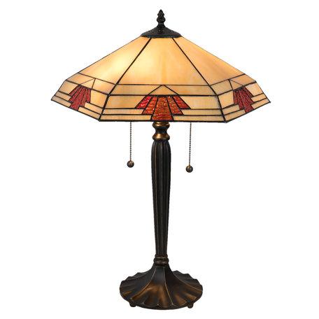 Tafellamp Tiffany 44*38*59 cm E27/max 2*60W Meerkleurig | 5LL-5202 | Clayre & Eef