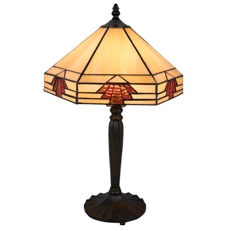 Tafellamp Tiffany 31*27*47 cm E27/max 1*60W Meerkleurig | 5LL-5203 | Clayre & Eef