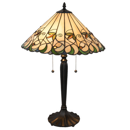 Tafellamp Tiffany ø 43*62 cm E27/max 2*60W Meerkleurig | 5LL-5206 | Clayre & Eef