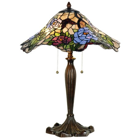 Tafellamp Tiffany ø 46*60 cm E27/max 2*60W Meerkleurig   5LL-5276   Clayre & Eef