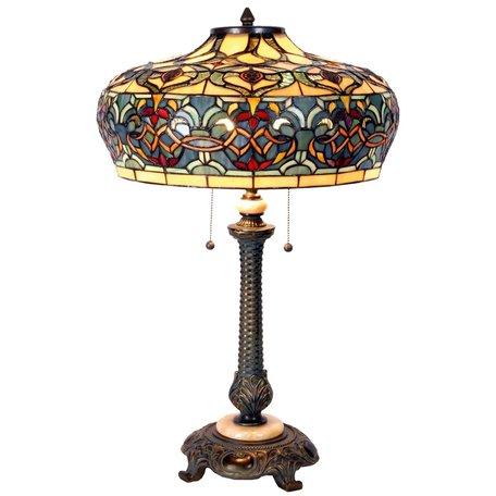 Tafellamp Tiffany ø 47*71 cm E27/max 2*60W Meerkleurig | 5LL-5290 | Clayre & Eef