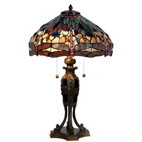 Tafellamp Tiffany ø 42*64 cm E27/max 2*60W Meerkleurig   5LL-5296   Clayre & Eef