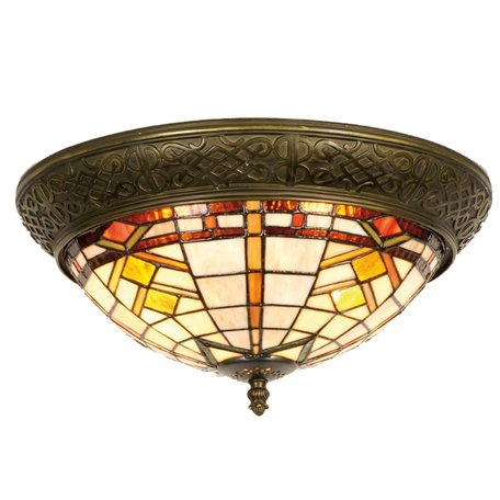 Plafondlamp Tiffany ø 38*19 cm E14/max 2*40W Bruin | 5LL-5349 | Clayre & Eef