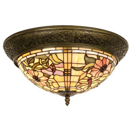 Plafondlamp Tiffany ø 38*19 cm E14/max 2*40W Koperkleurig | 5LL-5350 | Clayre & Eef