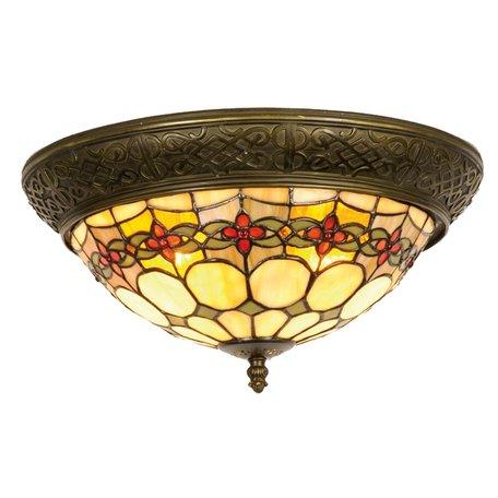 Plafondlamp Tiffany ø 38*19 cm E14/max 2*40W Groen | 5LL-5355 | Clayre & Eef