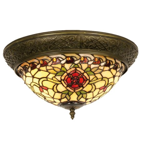Plafondlamp Tiffany ø 38*19 cm E14/max 2*40W Rood | 5LL-5356 | Clayre & Eef