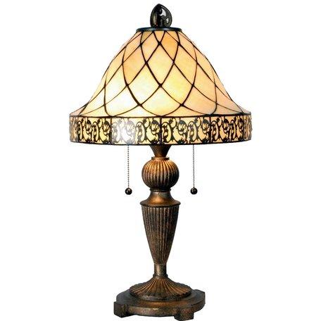 Tafellamp Tiffany ø 36*62 cm E27/max 2*60W Creme | 5LL-5408 | Clayre & Eef