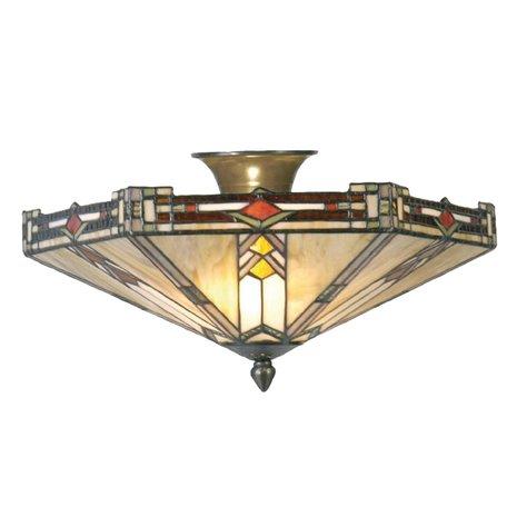 Plafondlamp Tiffany ø 40*23 cm E14/max 2*40W Creme   5LL-5420   Clayre & Eef