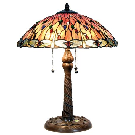Taffellamp Tiffany ø 45*56 cm E27/max 2*60W Rood | 5LL-5466 | Clayre & Eef
