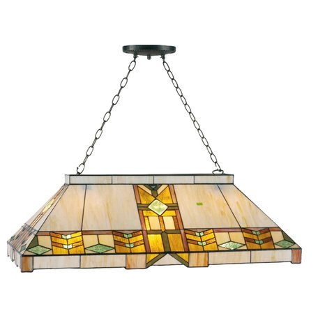 Hanglamp pooltafel Tiffany 92*47*125 cm E27/max 3*60W Geel | 5LL-5469 | Clayre & Eef