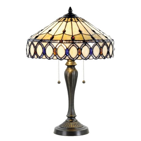 Tafellamp Tiffany ø 40*58 cm E27/max 2*60W Meerkleurig   5LL-5497   Clayre & Eef