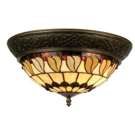 Plafondlamp Tiffany ø 38*19 cm E14/max 2*40W Meerkleurig | 5LL-5547 | Clayre & Eef