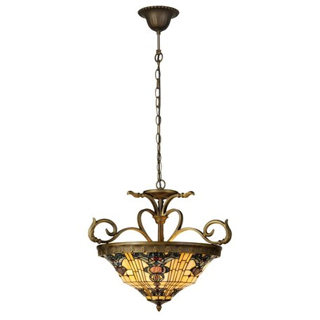 Hanglamp Tiffany ø 56*55/170 cm E27/max 3*60W Meerkleurig | 5LL-5551 | Clayre & Eef