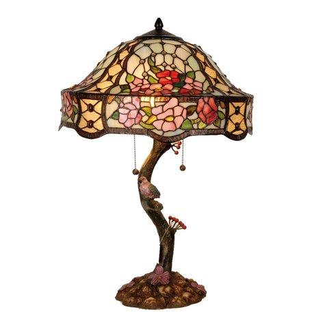 Tafellamp Tiffany ø 45*62 cm E27/max 3*60W Meerkleurig   5LL-5631   Clayre & Eef