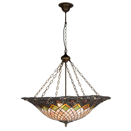 Hanglamp Tiffany ø 80*120 cm E27/max 3*60W Meerkleurig | 5LL-5728 | Clayre & Eef