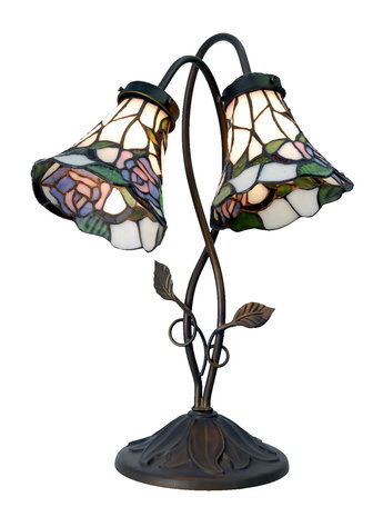 Tafellamp Tiffany 34*28*47 cm E14/max 2*40W Meerkleurig | 5LL-5748 | Clayre & Eef