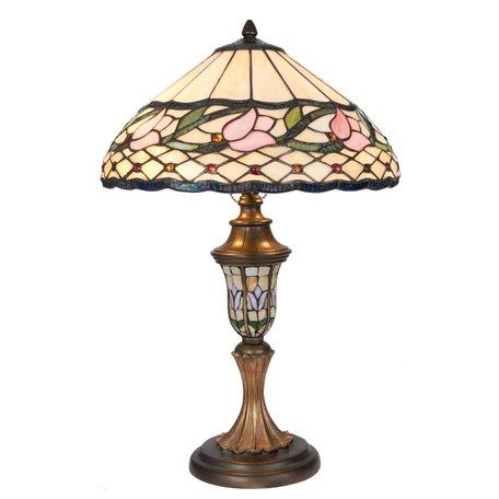 Tafellamp Tiffany ø 40*60 cm E27/max 2*60W Meerkleurig | 5LL-5774 | Clayre & Eef