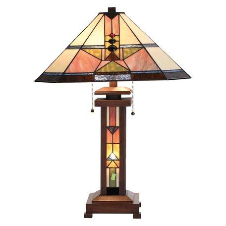 Tafellamp Tiffany 42*42*60 cm E27/max 2*60W E14/max 1*7W Meerkleurig | 5LL-5781 | Clayre & Eef