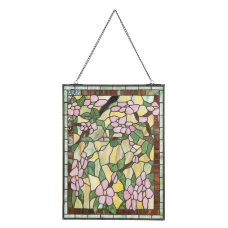 Glaspaneel Tiffany 46*61 cm Groen   5LL-5832   Clayre & Eef