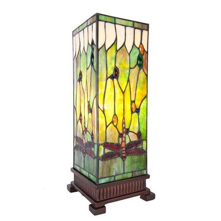 Tafellamp Tiffany 17*17*44 cm E27/max 1*40W Groen | 5LL-5847 | Clayre & Eef
