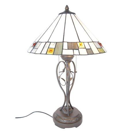 Tafellamp Tiffany ø 40*62 cm E27/max 2*60W Groen | 5LL-5856 | Clayre & Eef
