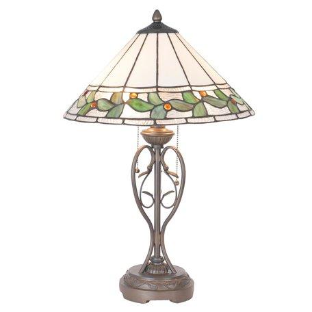 Tafellamp Tiffany ø 40*62 cm E27/max 2*60W Meerkleurig   5LL-5860   Clayre & Eef