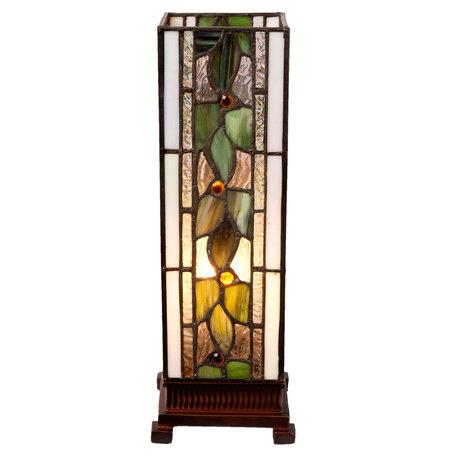 Tafellamp Tiffany 13*13*35 cm E14/max 1*25W Meerkleurig   5LL-5861   Clayre & Eef