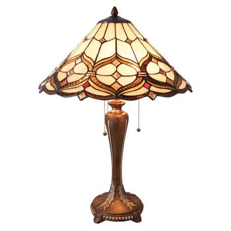 Tafellamp Tiffany ø 47*63 cm E27/max 3*60W Geel | 5LL-5880 | Clayre & Eef