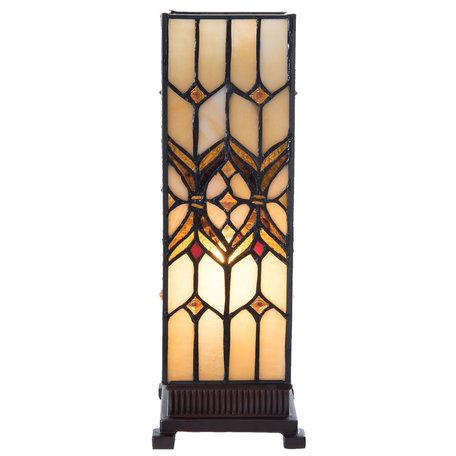 Tafellamp Tiffany 12*12*35 cm E14/max 1*25W Geel | 5LL-5881 | Clayre & Eef
