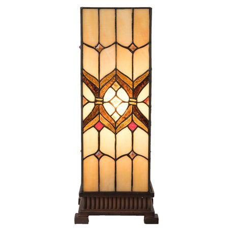 Tafellamp Tiffany 17*17*44 cm E27/max 1*40W Geel | 5LL-5882 | Clayre & Eef