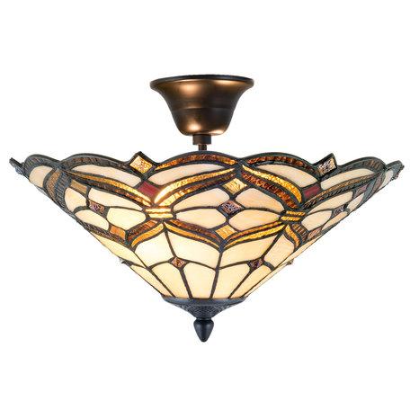 Plafondlamp Tiffany ø 40*28 cm E14/max 2*40W Geel | 5LL-5884 | Clayre & Eef