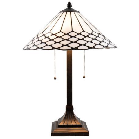 Tafellamp Tiffany ø 41*58 cm E27/max 2*60W Wit | 5LL-5887 | Clayre & Eef