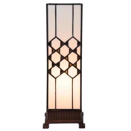 Tafellamp Tiffany 12*12*36 cm E14/max 1*25W Wit   5LL-5888   Clayre & Eef