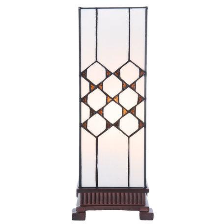 Tafellamp Tiffany 17*17*44 cm E27/max 1*40W Wit | 5LL-5889 | Clayre & Eef