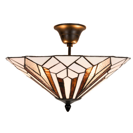 Plafondlamp Tiffany ø 40*28 cm E14/max 2*40W Wit | 5LL-5896 | Clayre & Eef