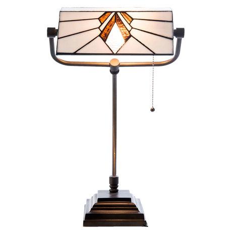 Bureaulamp Tiffany 32*27*51 cm E27/max 1*60W Wit | 5LL-5900 | Clayre & Eef